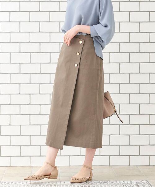 le.coeur blanc / ルクールブラン ミニ・ひざ丈スカート   コットンサテンラップライクタイトスカート(グレー)