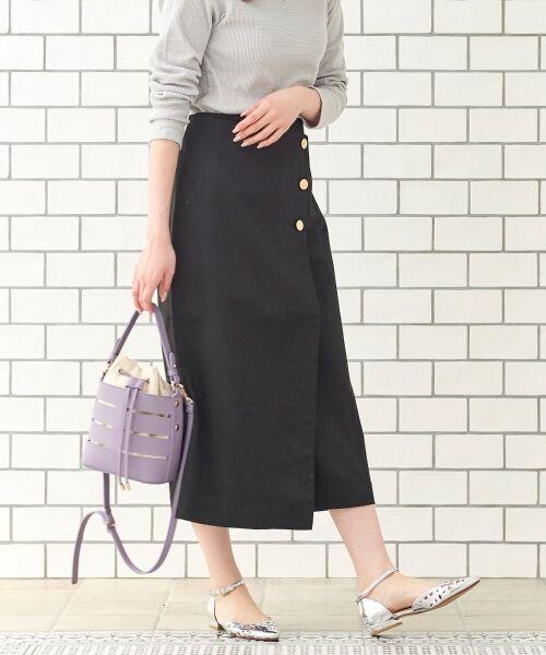 le.coeur blanc / ルクールブラン ミニ・ひざ丈スカート   コットンサテンラップライクタイトスカート(ブラック)