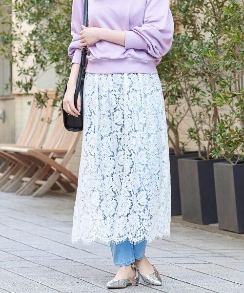 le.coeur blanc / ルクールブラン ミニ・ひざ丈スカート   フラワースカラップレースギャザースカート(オフ)