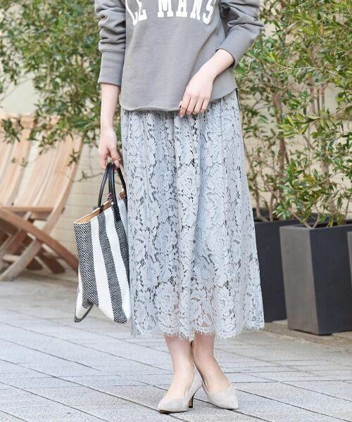 le.coeur blanc / ルクールブラン ミニ・ひざ丈スカート   フラワースカラップレースギャザースカート(L/グレー)