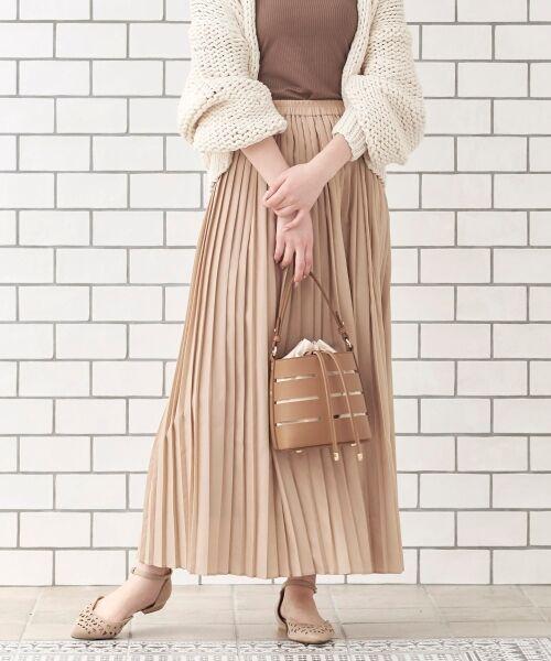 le.coeur blanc / ルクールブラン ロング・マキシ丈スカート | サイドプリーツマキシスカート(ベージュ)