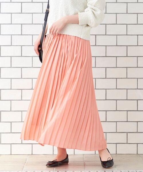 le.coeur blanc / ルクールブラン ロング・マキシ丈スカート | サイドプリーツマキシスカート(ピンク)