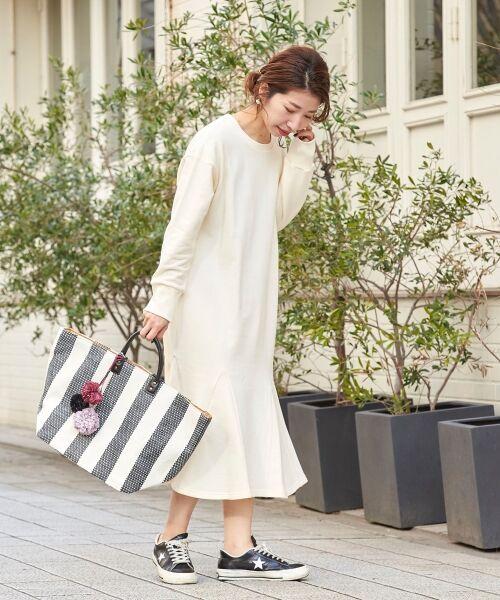 le.coeur blanc / ルクールブラン ロング・マキシ丈ワンピース | スエットフレアロングワンピース(アイボリー)