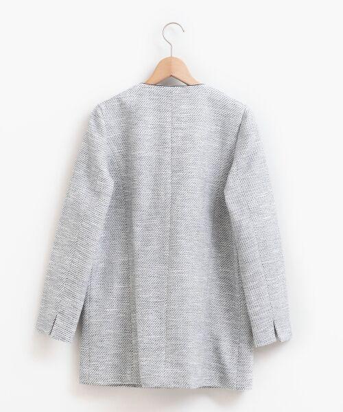 le.coeur blanc / ルクールブラン ノーカラージャケット | ツィードノーカラーロングジャケット | 詳細1