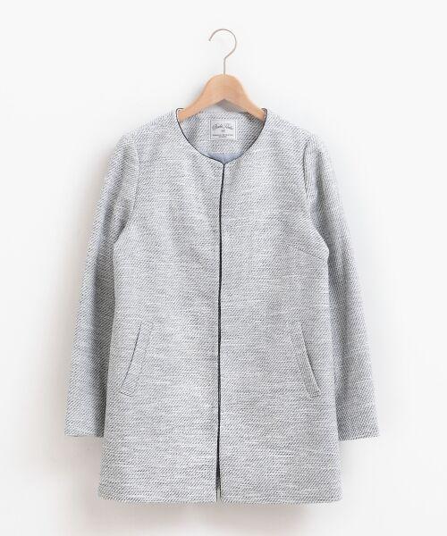 le.coeur blanc / ルクールブラン ノーカラージャケット | ツィードノーカラーロングジャケット | 詳細7
