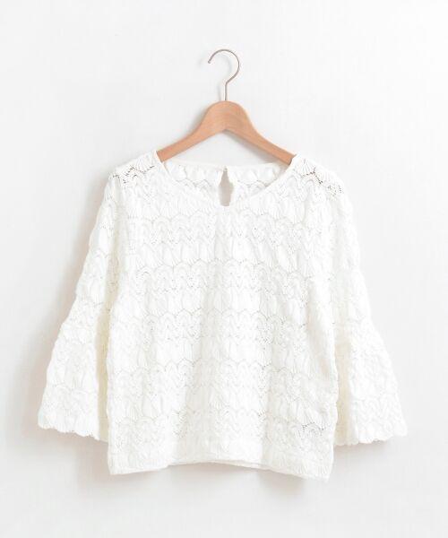 le.coeur blanc / ルクールブラン シャツ・ブラウス | バルファスレースVネックブラウス(ホワイト)