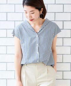 【お手入れ簡単、洗えるシャツ】<br>ショールカラーが新鮮なストライプシャツ。<br>バックは抜き衿風になっていて1枚でサマになるデザインがポイント。<br>程よくコンパクトなシルエットでボトムを選ばず着ていただけます。<br>ベーシックな配色のストライプ柄と程よく柔らかでシワになりにくい素材で、デイリーにオススメのブラウスです。<br><br>ワイドパンツなどリラックスアイテムと合わせればトレンドライクなコーディネートに。<br>タックパンツと合わせてきれいめに合わせればお仕事にも活躍間違いなしのアイテム。<br>手洗い可 ドライクリーニング可 陰干し<br>*水濡れによる色落ち・色移りにご注意下さい。