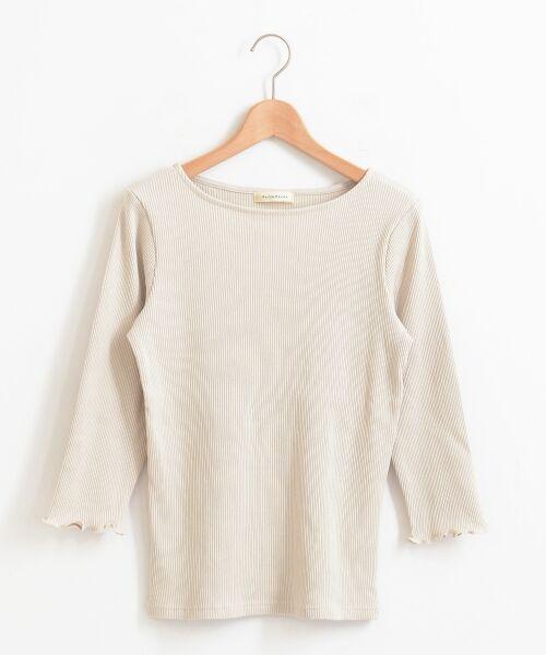 le.coeur blanc / ルクールブラン カットソー | ボートネックリブ7分袖カットソー(ベージュ)