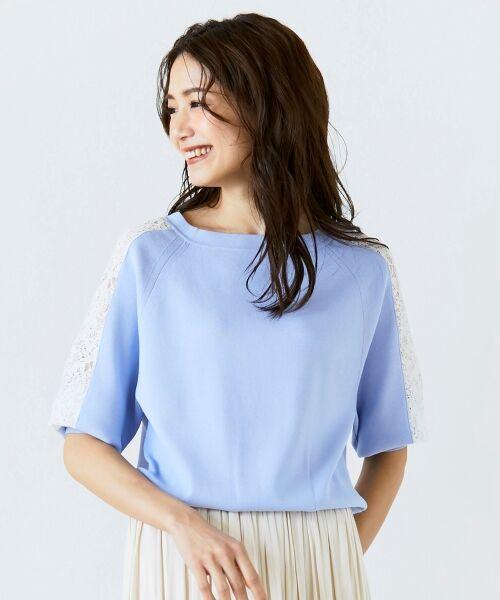 le.coeur blanc / ルクールブラン ニット・セーター | スリーブレースニットプルオーバー(ブルー)
