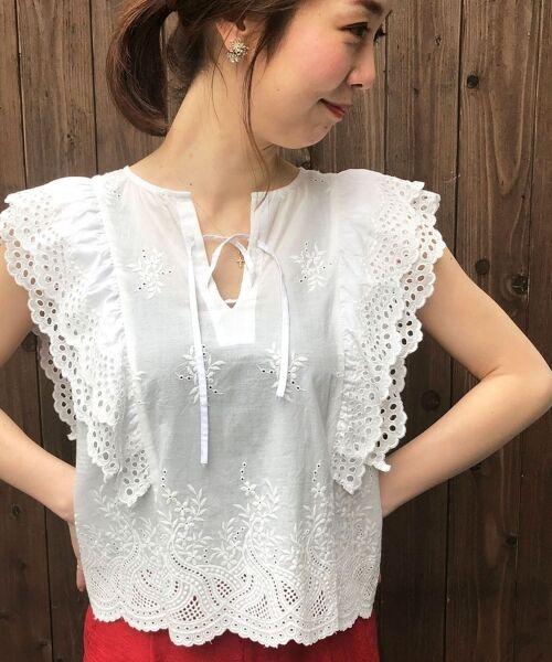 le.coeur blanc / ルクールブラン シャツ・ブラウス | eclat刺繍レースフリルブラウス(ホワイト)