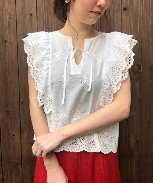 le.coeur blanc / ルクールブラン シャツ・ブラウス | eclat刺繍レースフリルブラウス | 詳細13