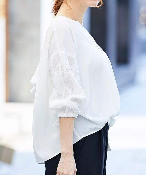 le.coeur blanc / ルクールブラン シャツ・ブラウス | 楊柳ジャガードスキッパーブラウス | 詳細13