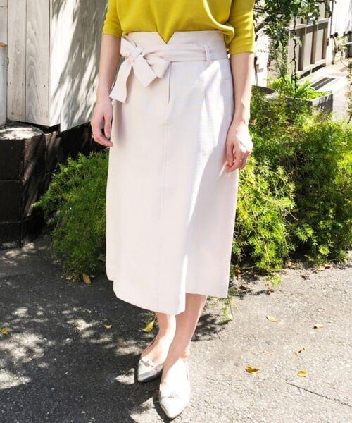 le.coeur blanc / ルクールブラン ロング・マキシ丈スカート | ウエストリボンAラインスカート | 詳細14
