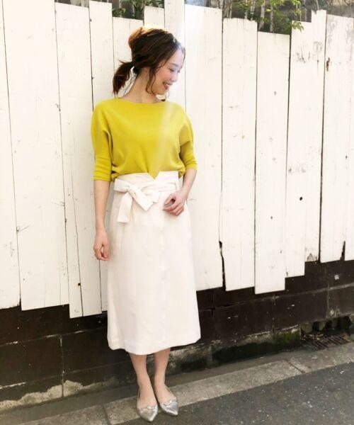 le.coeur blanc / ルクールブラン ロング・マキシ丈スカート | ウエストリボンAラインスカート | 詳細15