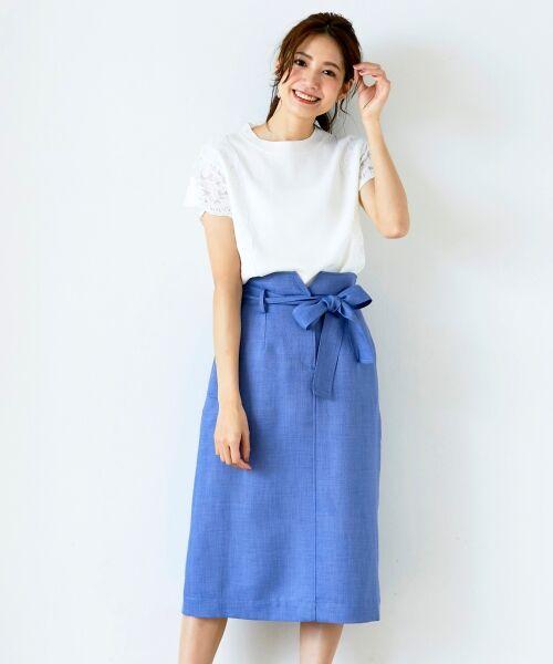le.coeur blanc / ルクールブラン ロング・マキシ丈スカート | ウエストリボンAラインスカート | 詳細8