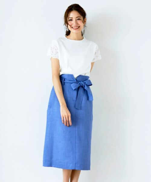 le.coeur blanc / ルクールブラン ロング・マキシ丈スカート | ウエストリボンAラインスカート | 詳細9