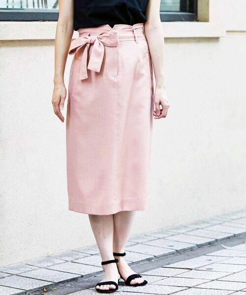 le.coeur blanc / ルクールブラン ロング・マキシ丈スカート | ウエストリボンAラインスカート(ピンク)