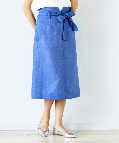 le.coeur blanc / ルクールブラン ロング・マキシ丈スカート | ウエストリボンAラインスカート(ブルー)