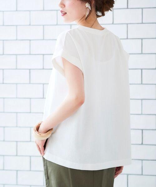 le.coeur blanc / ルクールブラン Tシャツ   サイドスリットロールアップスリーブTシャツ   詳細13