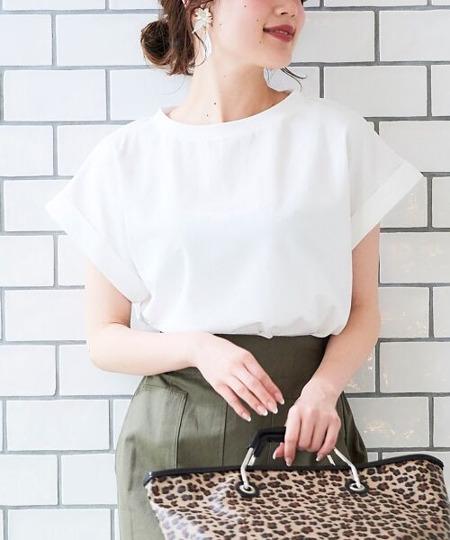 le.coeur blanc / ルクールブラン Tシャツ   サイドスリットロールアップスリーブTシャツ   詳細8
