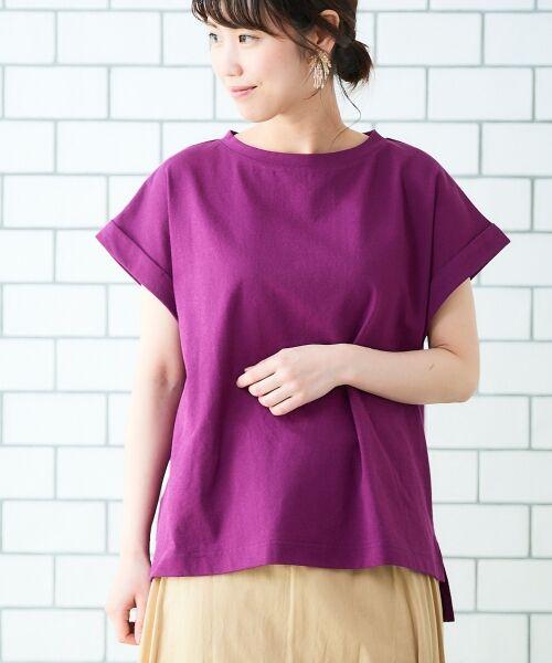 le.coeur blanc / ルクールブラン Tシャツ   サイドスリットロールアップスリーブTシャツ(パープル)