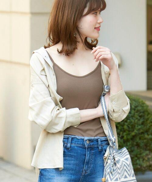le.coeur blanc / ルクールブラン シャツ・ブラウス | レーヨンリネンフラップポケットビッグシャツ(サンドベージュ )