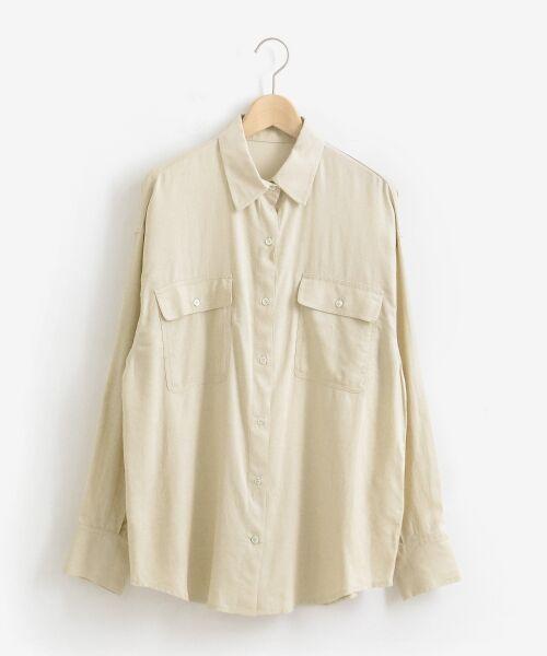 le.coeur blanc / ルクールブラン シャツ・ブラウス | レーヨンリネンフラップポケットビッグシャツ | 詳細13