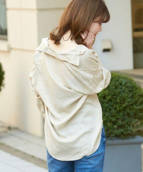 le.coeur blanc / ルクールブラン シャツ・ブラウス | レーヨンリネンフラップポケットビッグシャツ | 詳細7