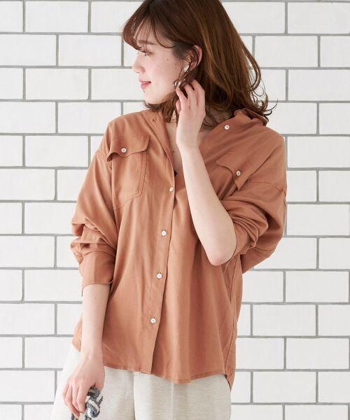 le.coeur blanc / ルクールブラン シャツ・ブラウス | レーヨンリネンフラップポケットビッグシャツ(キャメル)