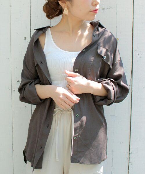 le.coeur blanc / ルクールブラン シャツ・ブラウス | レーヨンリネンフラップポケットビッグシャツ(D/グレー)