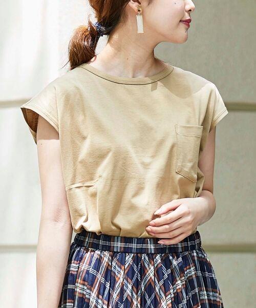 le.coeur blanc / ルクールブラン Tシャツ | ポケ付フレンチTシャツ(キャメル)