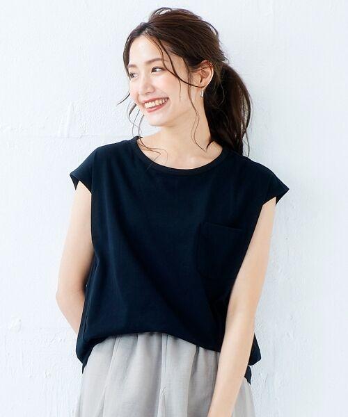 le.coeur blanc / ルクールブラン Tシャツ | ポケ付フレンチTシャツ(ブラック)