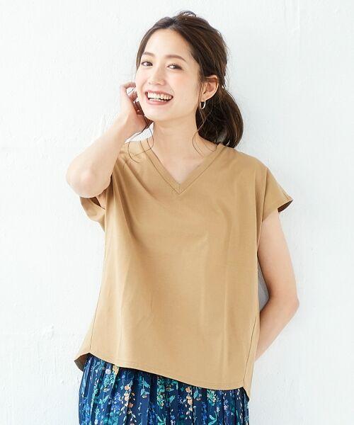 le.coeur blanc / ルクールブラン Tシャツ | VネックフレンチTシャツ(キャメル)