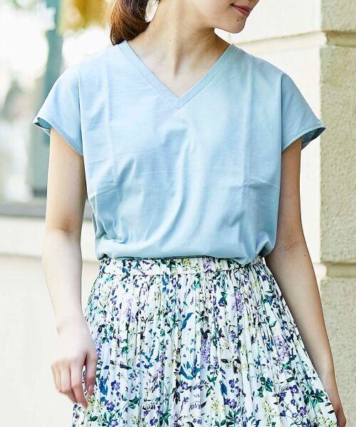 le.coeur blanc / ルクールブラン Tシャツ | VネックフレンチTシャツ(サックス)