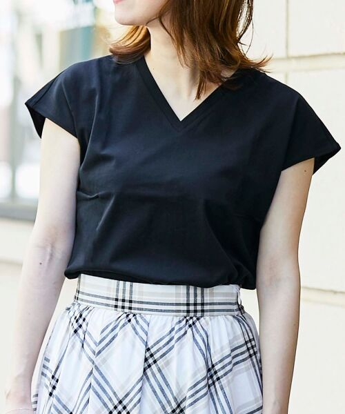 le.coeur blanc / ルクールブラン Tシャツ | VネックフレンチTシャツ(ブラック)