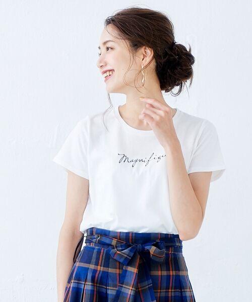 le.coeur blanc / ルクールブラン Tシャツ | ロゴプリントTシャツ(オフ)