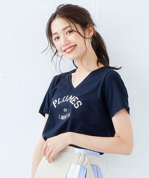 le.coeur blanc / ルクールブラン Tシャツ | ロゴプリントVネックTシャツ(ネイビー)