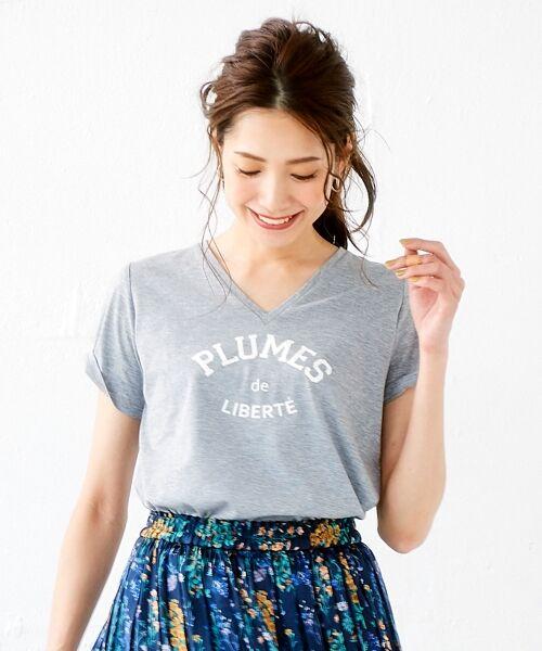 le.coeur blanc / ルクールブラン Tシャツ | ロゴプリントVネックTシャツ(グレー)