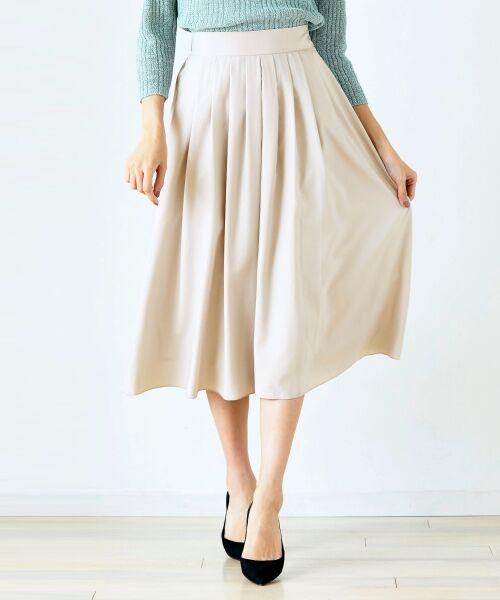 le.coeur blanc / ルクールブラン ミニ・ひざ丈スカート | マイクロスパンタックフレアスカート(L/ベージュ)