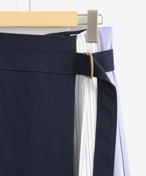 le.coeur blanc / ルクールブラン ミニ・ひざ丈スカート   ストライプ切替ベルト付スカート   詳細2