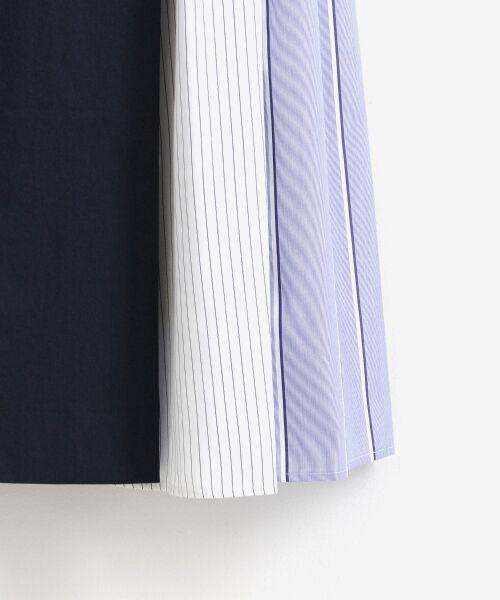 le.coeur blanc / ルクールブラン ミニ・ひざ丈スカート   ストライプ切替ベルト付スカート   詳細4