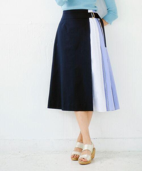 le.coeur blanc / ルクールブラン ミニ・ひざ丈スカート   ストライプ切替ベルト付スカート   詳細9