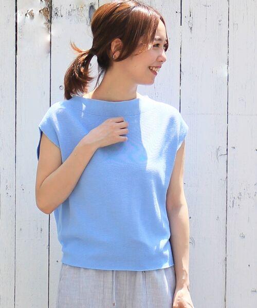 le.coeur blanc / ルクールブラン ニット・セーター | ホールガーメントフレンチニット(ブルー)