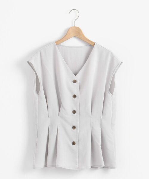 le.coeur blanc / ルクールブラン シャツ・ブラウス | Vネックタックフレンチブラウス(L/グレー)