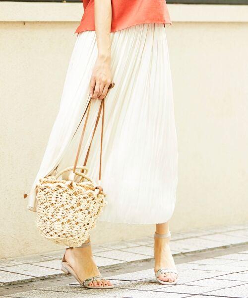 le.coeur blanc / ルクールブラン ロング・マキシ丈スカート   サテンプリーツロングスカート(オフ)
