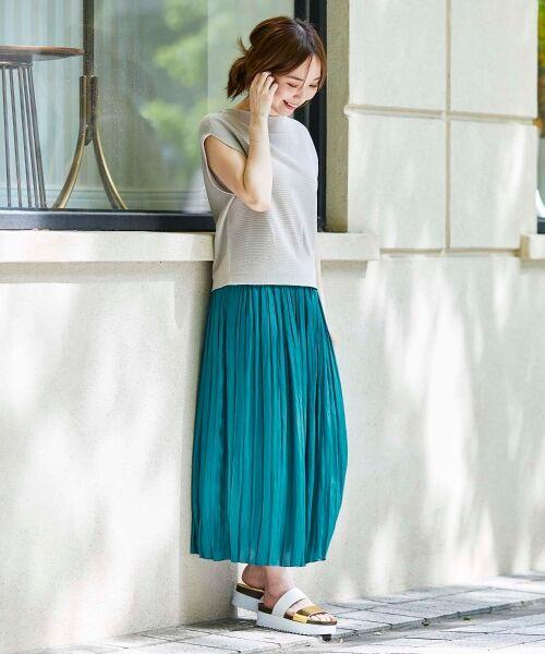le.coeur blanc / ルクールブラン ロング・マキシ丈スカート | サテンプリーツロングスカート | 詳細14