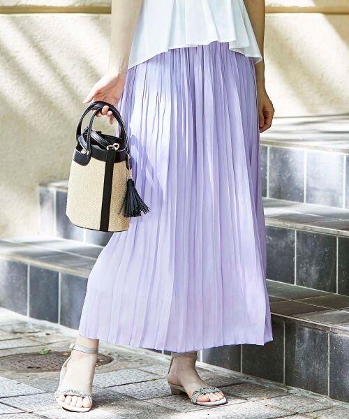 le.coeur blanc / ルクールブラン ロング・マキシ丈スカート | サテンプリーツロングスカート(ラベンダー)