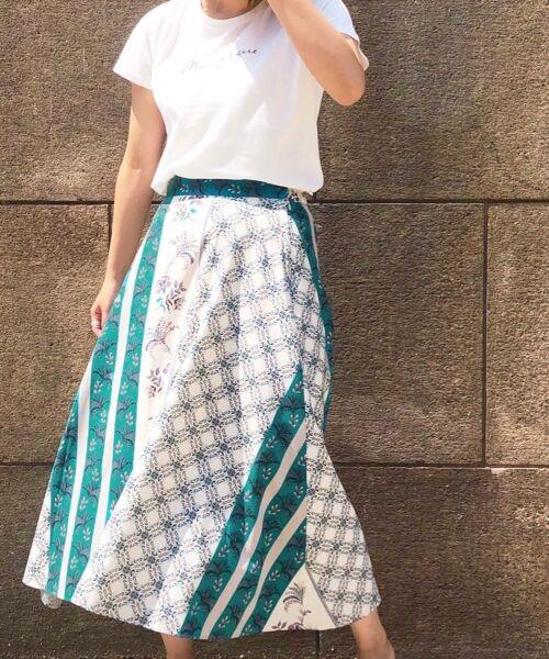 le.coeur blanc / ルクールブラン ミニ・ひざ丈スカート | フラワーパネルプリントフレアスカート | 詳細11
