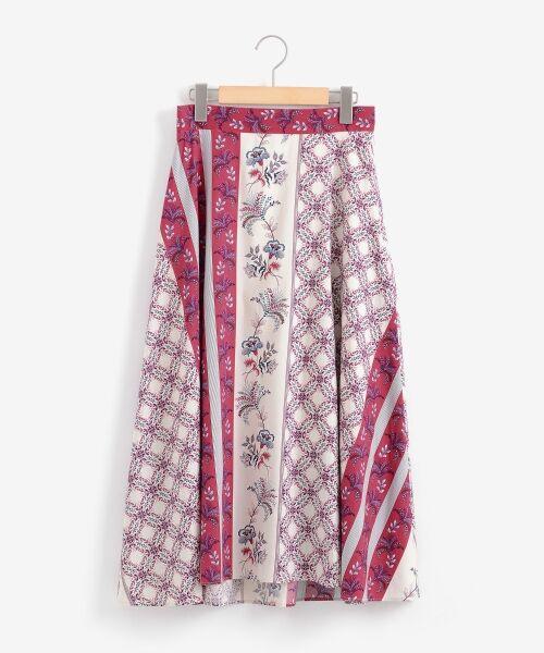 le.coeur blanc / ルクールブラン ミニ・ひざ丈スカート | フラワーパネルプリントフレアスカート | 詳細8