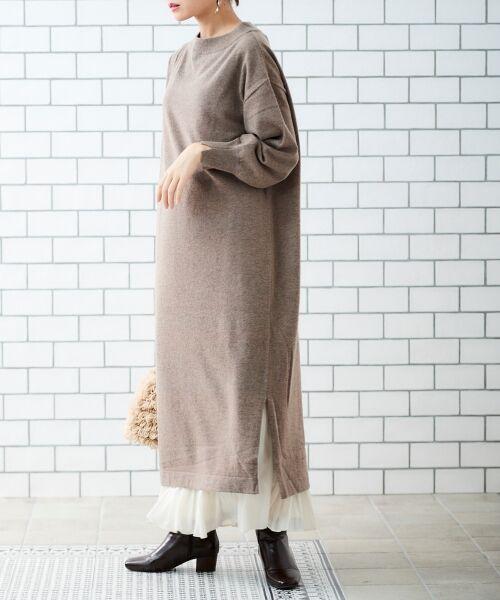le.coeur blanc / ルクールブラン ロング・マキシ丈ワンピース | AQUA ウールカシミヤロングワンピース(ブラウン)